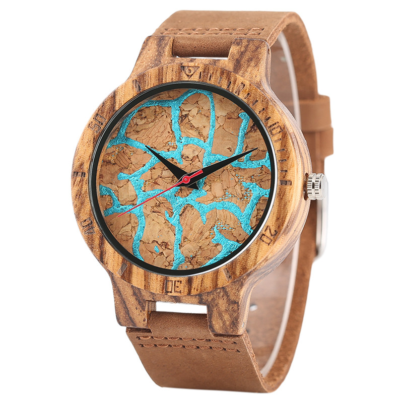 Creative Special Dial Wooden Watches Genuine Leather Nature Wood Quartz Wrist Watch Men Women Gift Reloj de madera Fashion Clock new world map mens genuine leather quartz watch wood bamboo male wrist watch luxury brand reloj de madera genuine with gift box