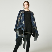 Lady Stars Striped Pashmina Imitation Cashmere Shawl Ponchos Long Thicken Capes Plaid Scarves Women Coat  Autumn Winter