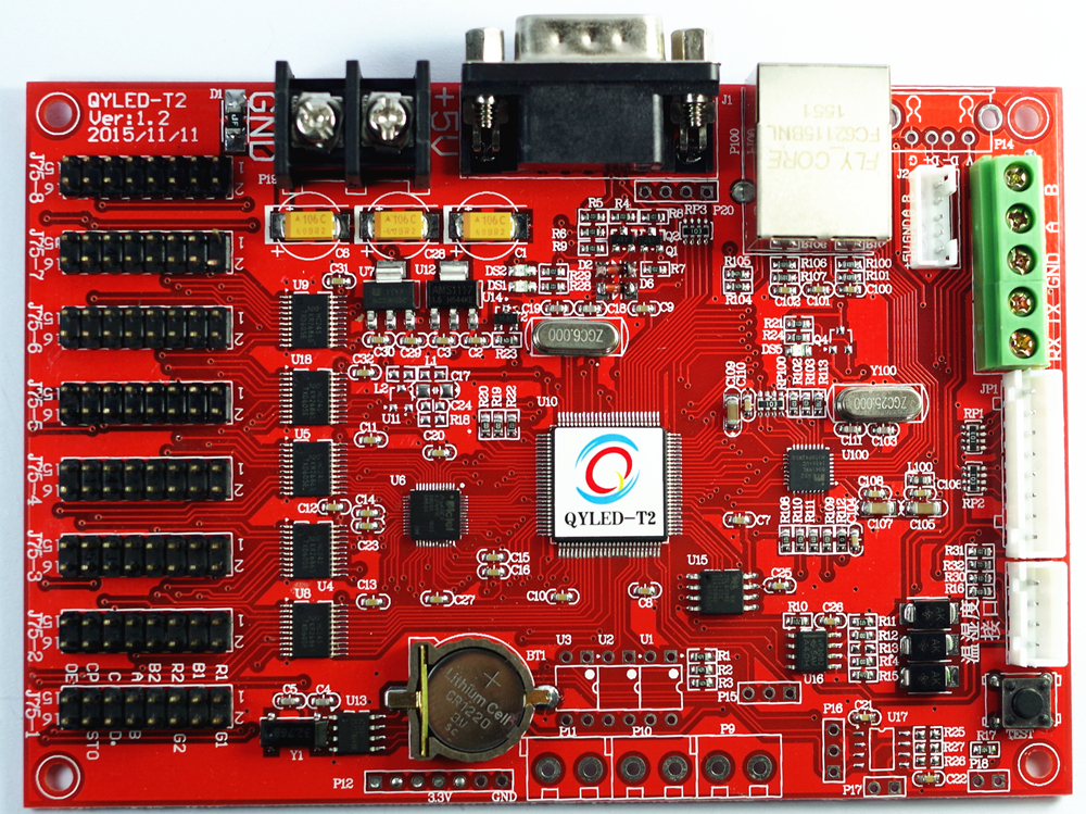 Secondary Development of Network Port LED Control Card in Three Primary Colors Grayless Seven-color Band Word Library Industry