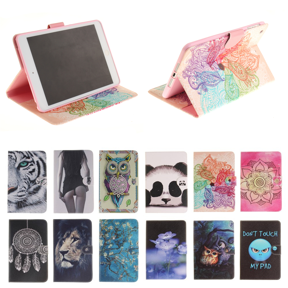 Lion Tiger Print Fold Stand Leather Case Smart Cover for Apple iPad 5 Ipad5 tablet case For Apple ipad Air 1 9.7'' #U smart tiger