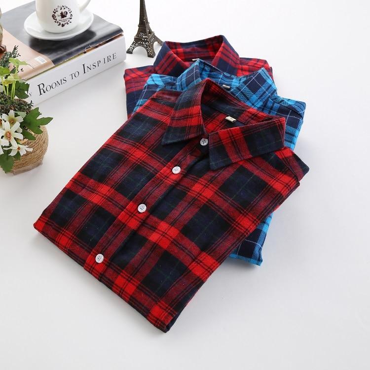 2017 Spring Fashion Women   Blouses     Shirts   Long Sleeve Flannel Plaid   Shirts   Women Casual Cotton Plus Size Blusas Femininas Tops