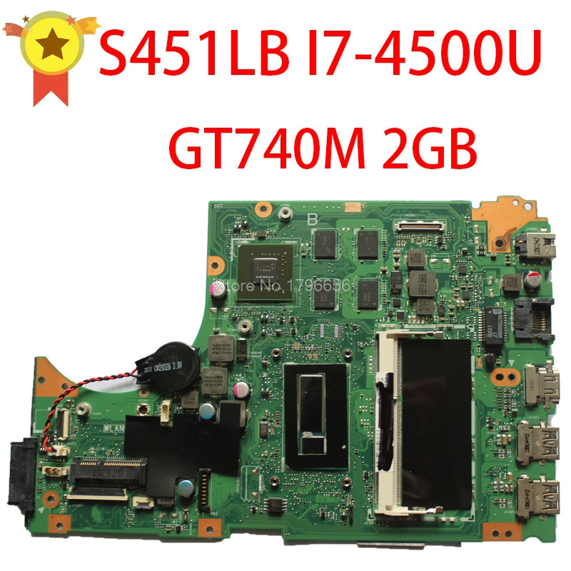 For ASUS S451 S451L V451 V451L S451LN S451LB  Laptop Motherboard S451lb Mainboard I7-4500u Gt740m 2gb Non-Integrated 100% Tested