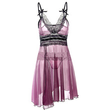 Sexy Women Summer Casual Lace Crochet Gauze A Line Nightgowns V Neck Strap Lingerie Purple S-6XL With G-String