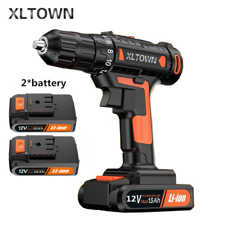 цена на Xltown 12v Mini Drill Rechargeable Lithium Battery Electric Screwdriver with 2 battery Large Torque Household Drill Power Tools