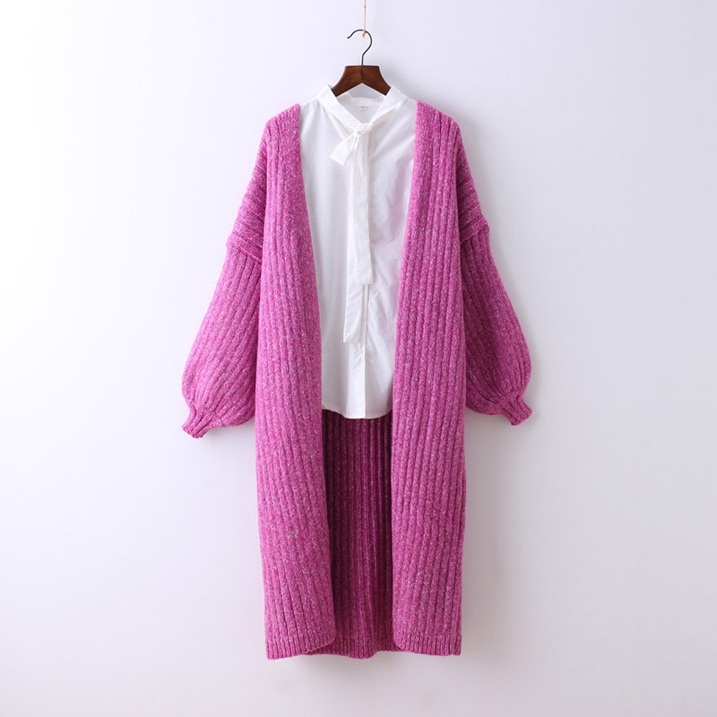 Winter Thick Warm Womens Cardigan Sweet Pink Knitted Sweater For Women Lovely Lantern Sleeve Female Cardigan Long Outerwear Coat