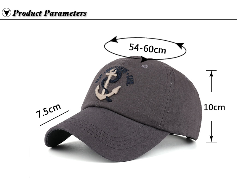 Embroidered Anchor & Rope Baseball Cap - Product Parameters