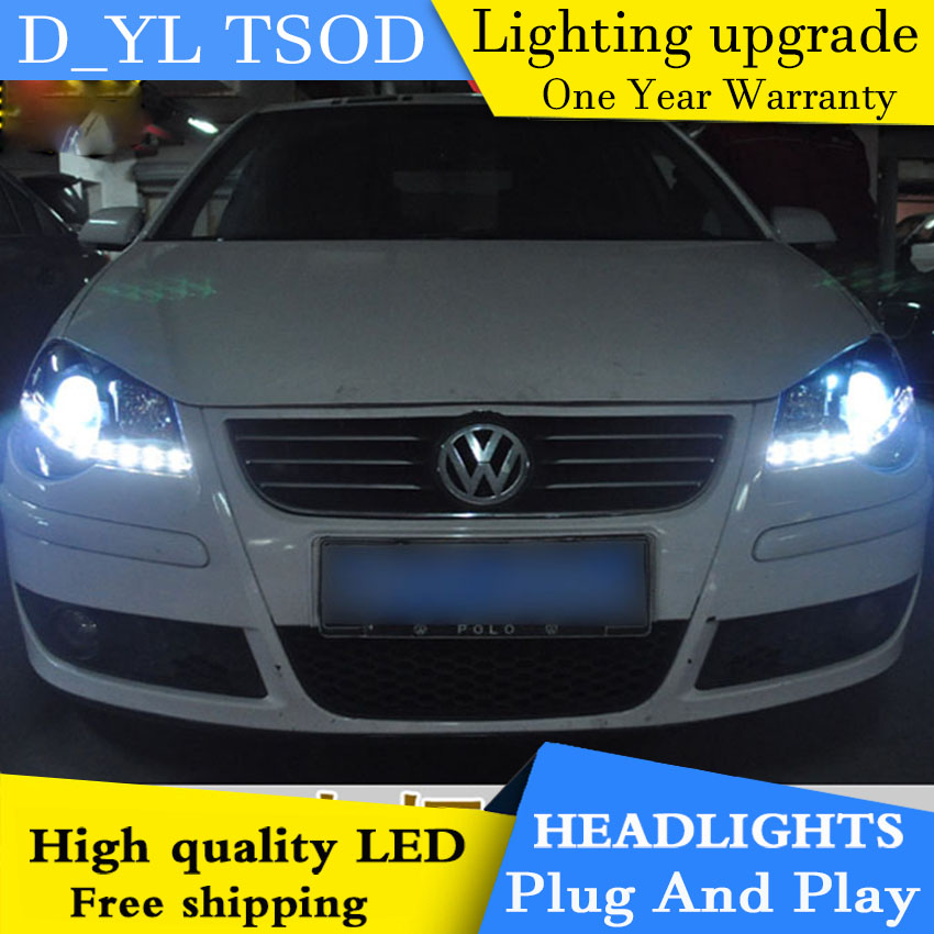 D YL Car Styling for VW Polo Headlights 2008 2009 Polo LED Headlight DRL Lens Double