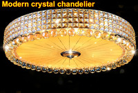Modern Crystal Chandelier With Remote Control Surface Mounted Lustre Ceiling Led Crystal Lamp Gold Crystal Led Chandelier