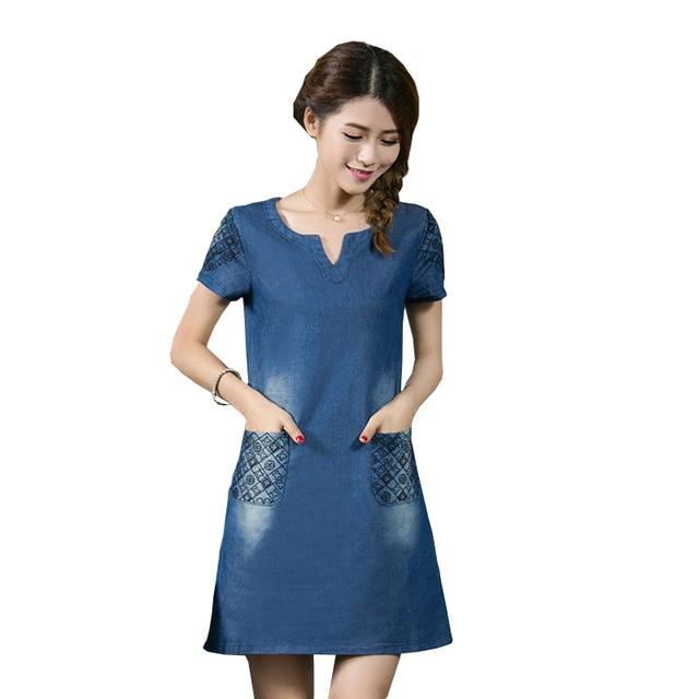 YZ Solid Summer Dress Women 2019 New Vestido De Festa Fashion Jean Big Size Lady Slim Short Sleeve Dresses Plus Size S-5XL Dress