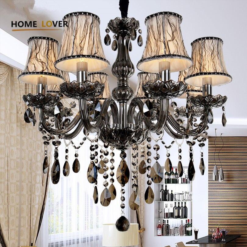 Nouveau Moderne led cristal lustres pour cuisine chambre Salon Chambre Gris Couleur K9 cristal lustres de teto lustre au plafond
