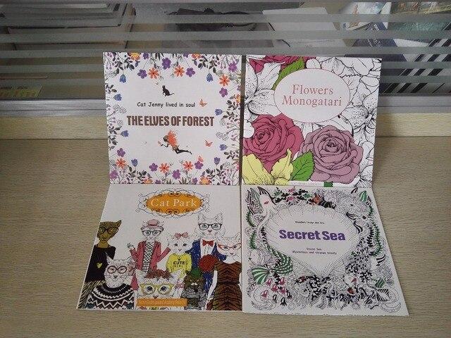 4PCS LOT 24 Page English Edition Elves Offrest Flowers Monogatari Cat Park