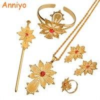 NEW Cross Ethiopian Set Jewelry 22k Gold Plated Pendant Chain Earrings Ring Hair Pin Bangle Eritrea