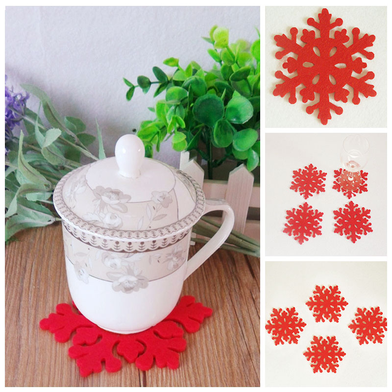 4pcs Christmas Snowflake Ddesign Simple And Eye-catching <font><b>Hollow</b></font> Out <font><b>Cup</b></font> <font><b>Coaster</b></font> Mat Anti-Skid Table Placemat Red 10cm