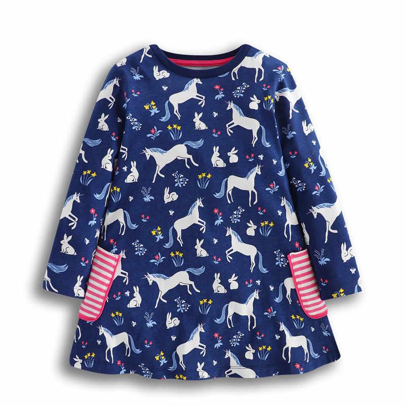 Платья для маленьких девочек нового дизайна, детское платье с героями мультфильмов на весну и осень с принтом в виде милых животных, одежда для девочек высокого качества