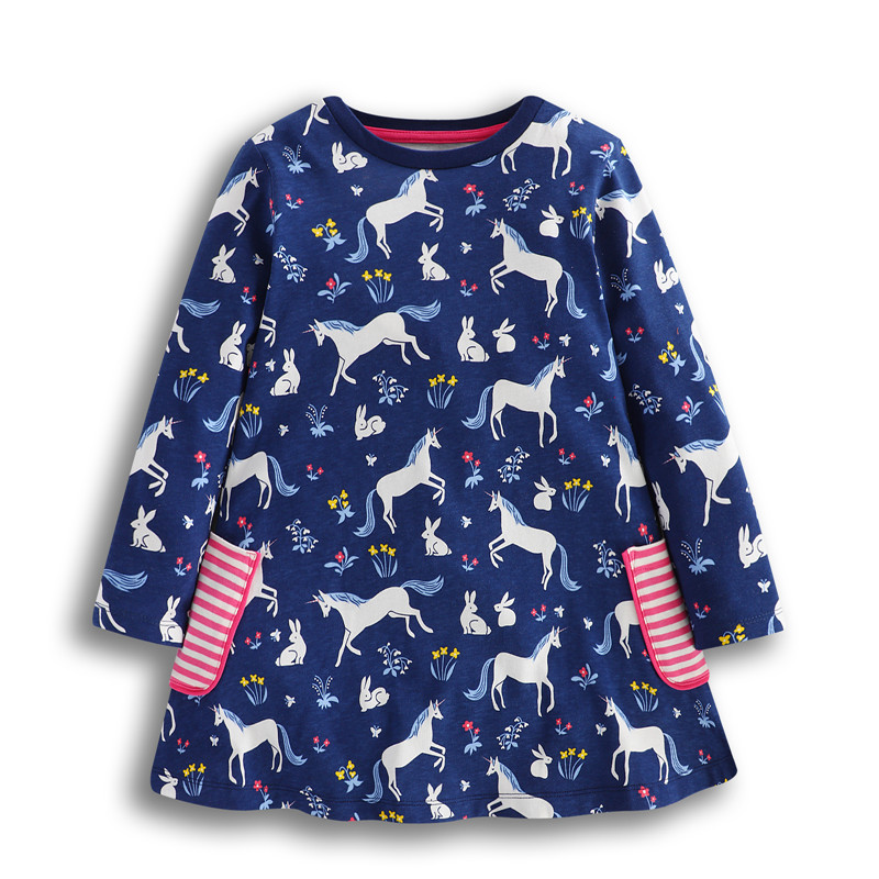 New designed baby girls dresses kids spring autumn cartoon dress with printed unicorn cute animals top quality girls clothing new fashion spring autumn baby girls cartoon dress sweet rabbit star with belt yarn dresses clothing for girls kids clothes