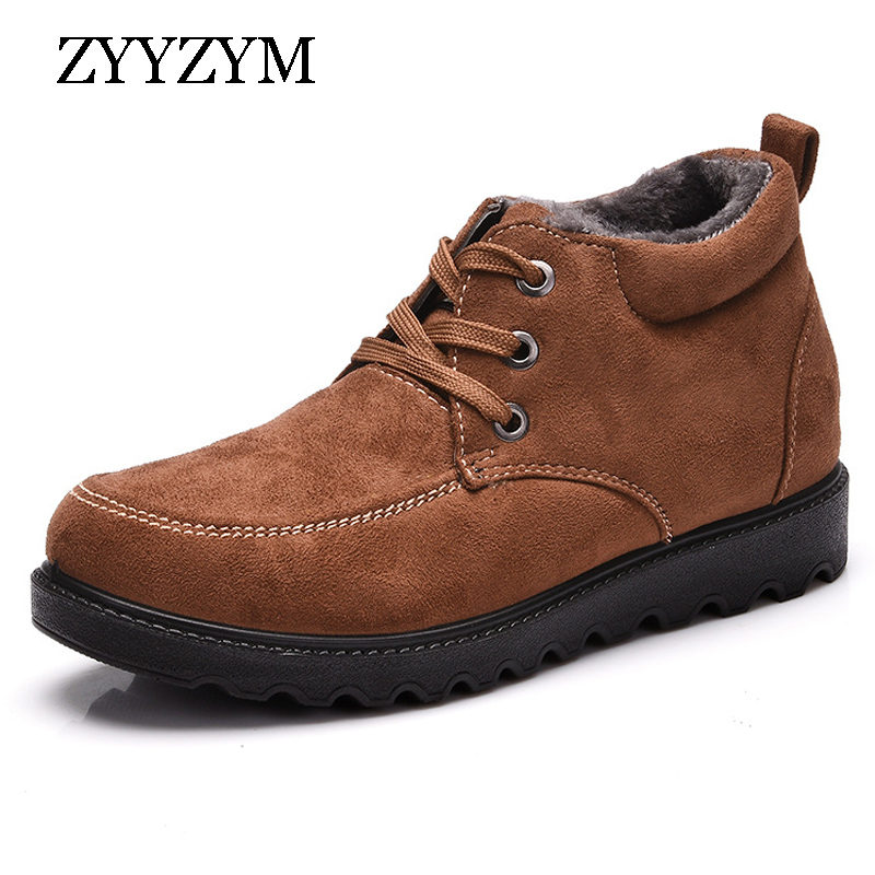ZYYZYM Men 39 s Boots Cotton padded Winter Suede Thickening Outdoor Short Plush Keep Warm Male Boots in Snow Boots from Shoes