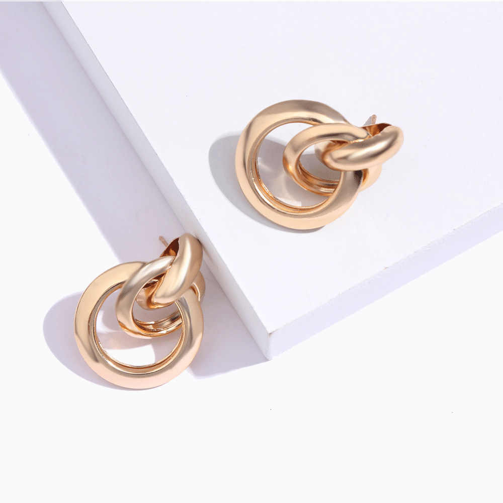 Flatfoosie Round Circle Large Stud Earrings 2018 Trendy Gold Color Maxi Geometric Statement Party Earring For Women Punk Jewelry