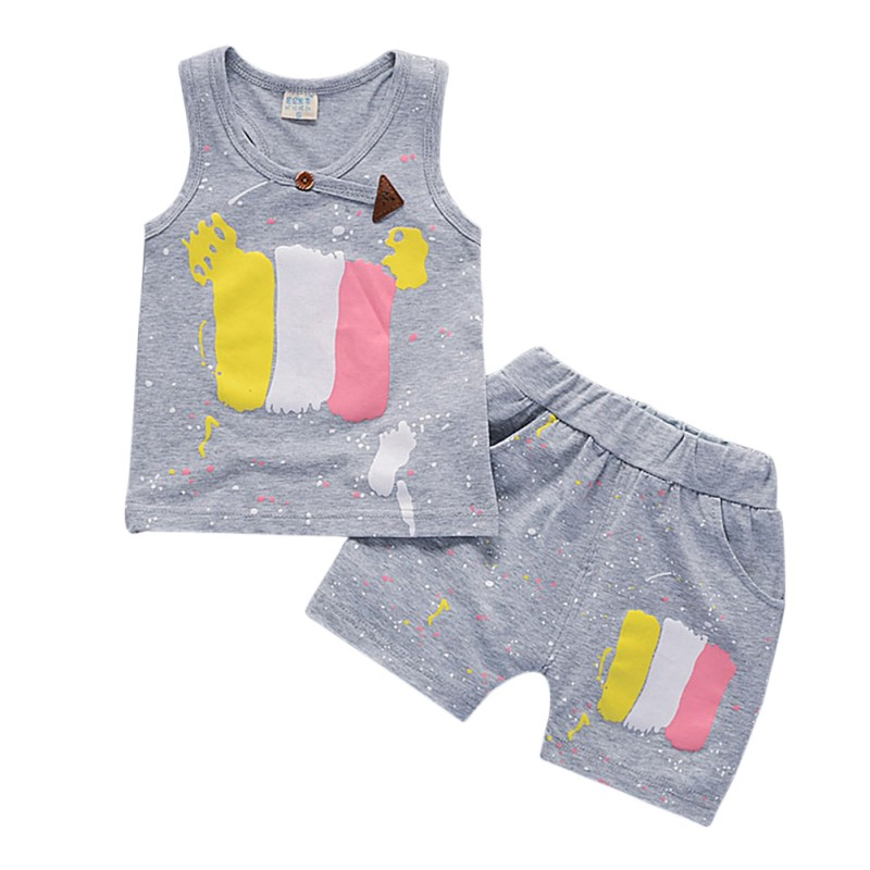Fashion Summer Baby Sets With Sleeveless And Cute Carton Print Comfortable For Dressing In The Summer