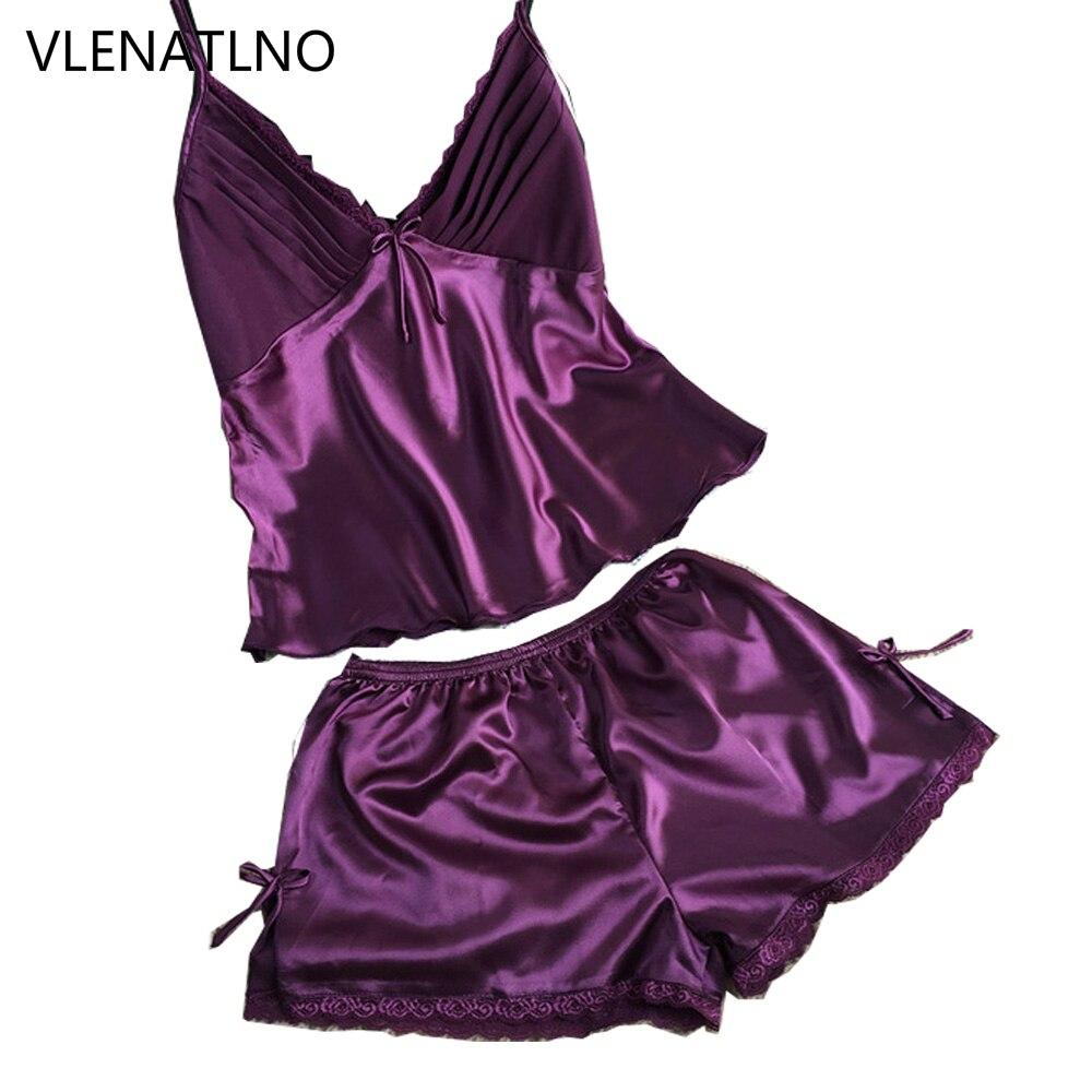 2016 Summer Style Pajamas Sets Women Female Sleep Set Women's Deep V-neck Sexy Spaghetti Strap Shorts Sleepwear Silk Homewear
