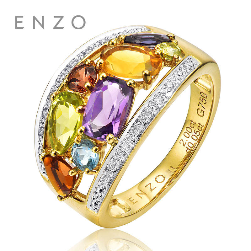 ENZO Rainbow 18K Gold Irregular Shape Ring Natural Colourful Crystal Ring With Generous Design Wonderful Jewelry