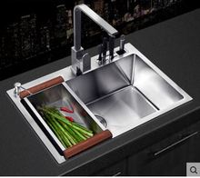 Free shipping Nice handmade kitchen sink to the vegetable washing basin, sink 304 stainless steel single slot knife thickening