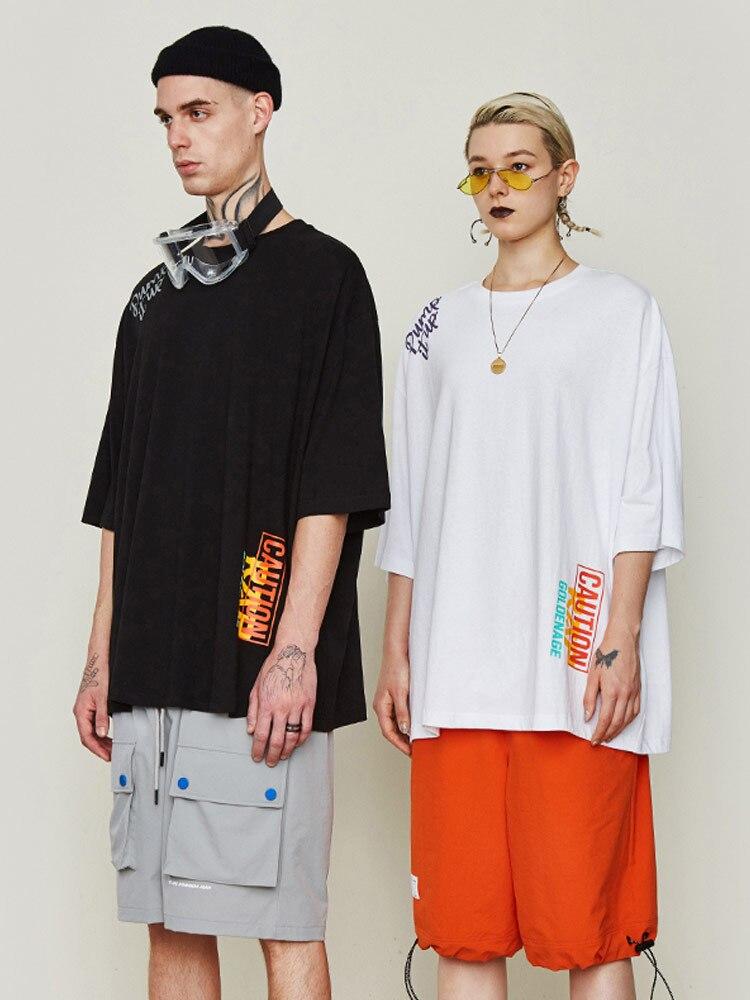 Straße hip hop T shirt spaß text druck lose schulter kurzarm bodenbildung hemd männlich - 2