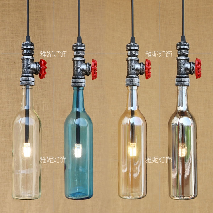 American industrial water bottle glass LED pendant lights single head bar KTV restaurant creative color pendant lamp ZA adnart flavour it glass water bottle with fruit infuser