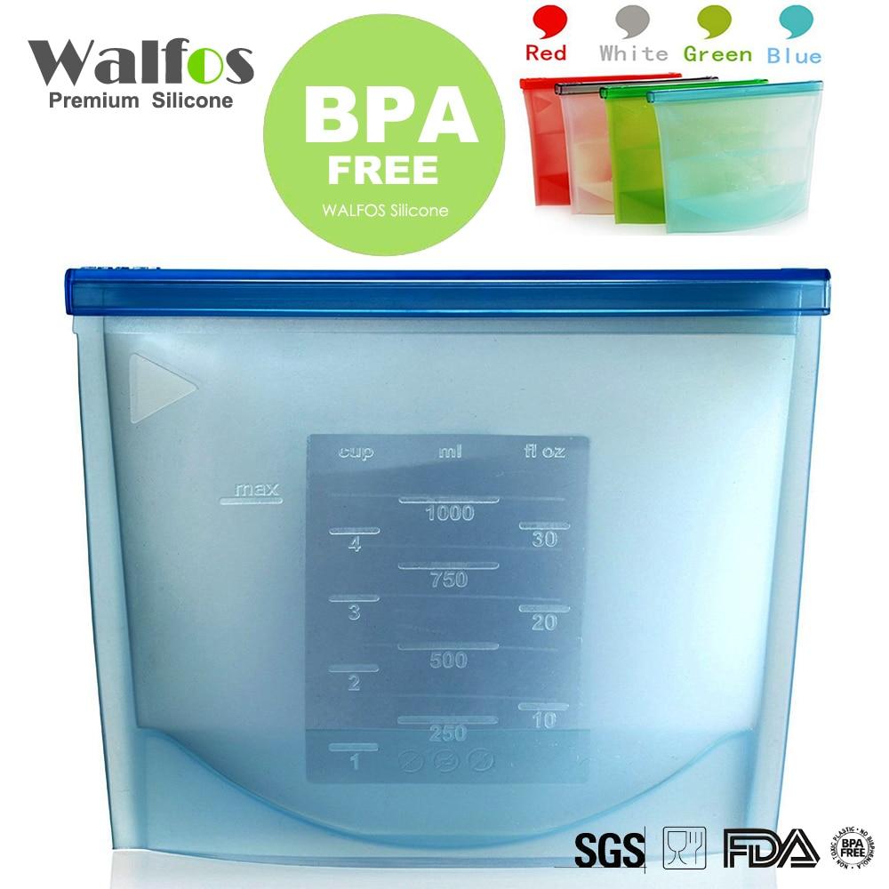 Walfos Silicone Fresh Bags Food Saver Sealing Storage Bag