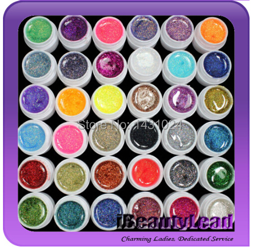 36PCS Colorful Nail Art UV Gel Professional Glitter Powder Nail Gel Nail Polish Nail UV gel set