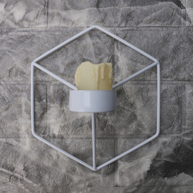 Nordic Style 3D Geometric Candlestick Metal Wall Candle Holder Sconce Home Decor 2