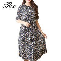 TLZC Mid Long Length Floral Dress Summer Cute Lady Dress Size M 5XL Korean Style Women