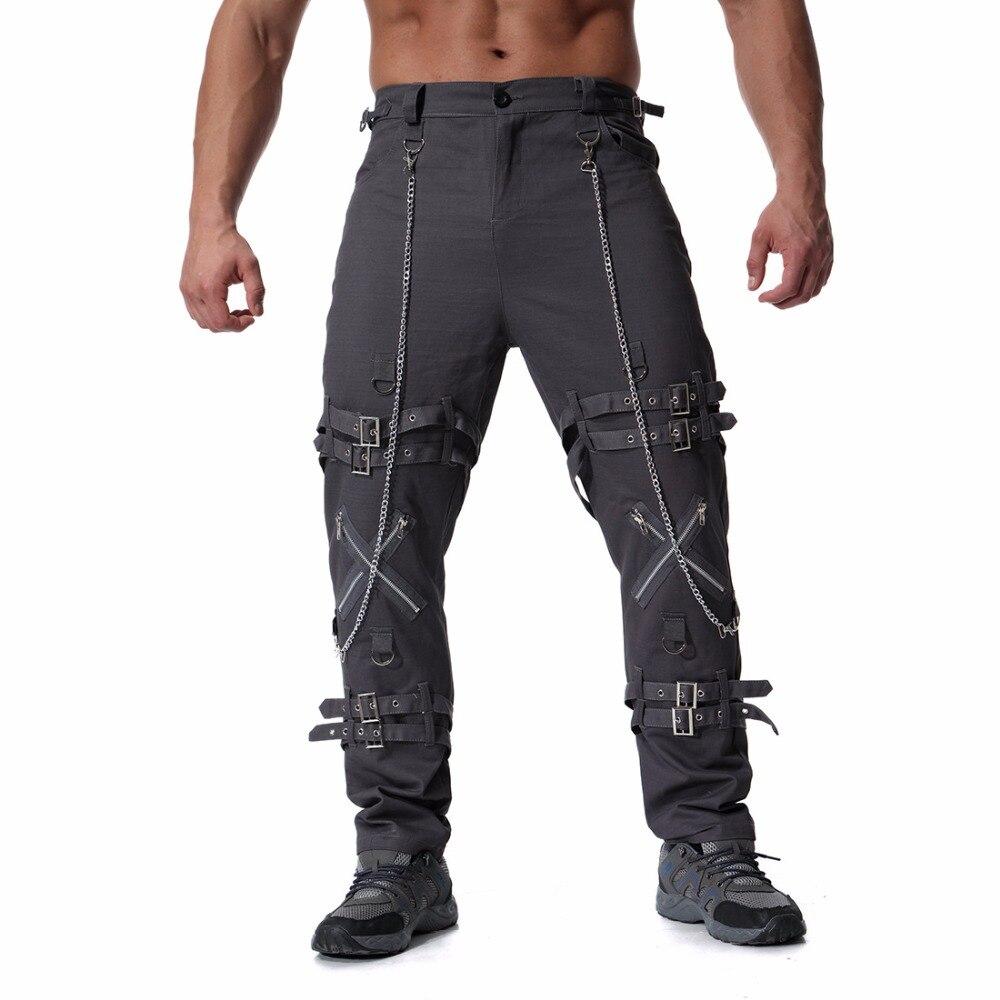 AmberHeard 2018 Mode Hommes Tactique Pantalon Cargo Coton Multi Poches Militaire Pantalon Mens Hip Hop Rue Chaîne Zipper Salopette