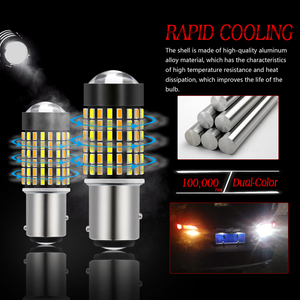 Image 4 - Katur 2pcs Dual Color 1157 BAY15D Led Bulbs For Cars Switchback Orange/White Led Turn Signal Lights With DRL Function 1200Lm