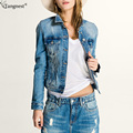 TANGNEST Fashion Denim Jacket For Women 2017 Cowboy Style Waterwashed Short Coat Stylish Jeans Blue Jackets Frayed Coats WWJ805