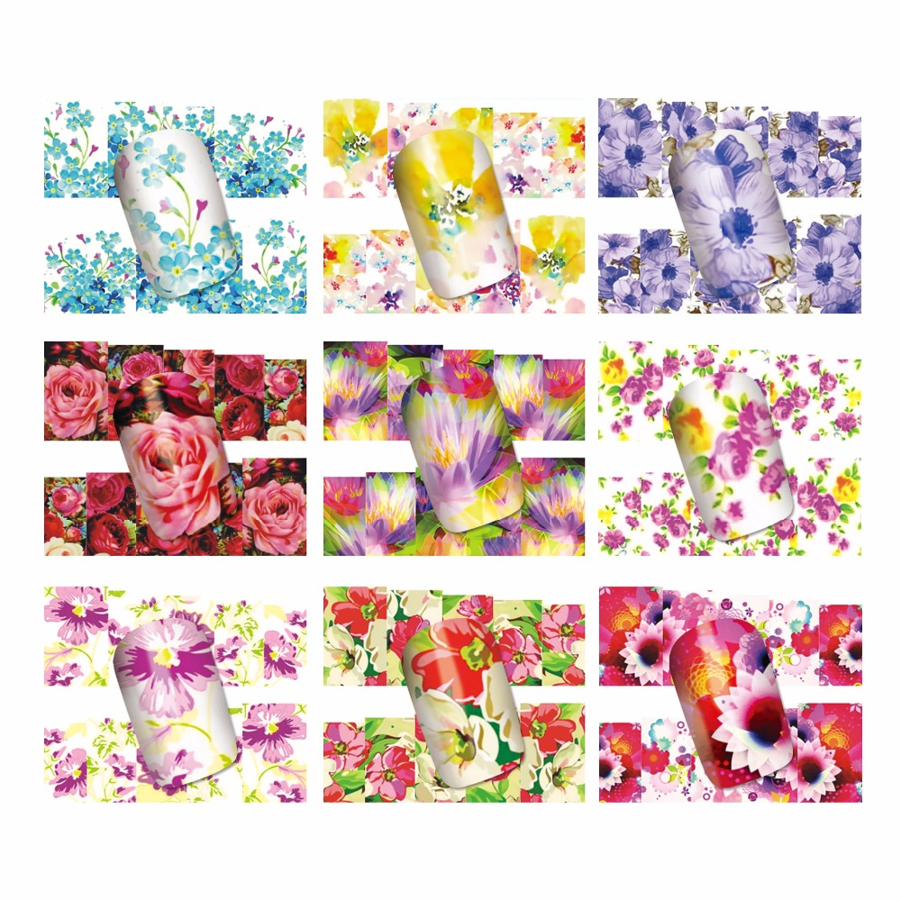 ZKO 1 Sheet Optional Water Transfer Nail Art Sticker Watermark Decals DIY Decoration For Beauty Nail Tools