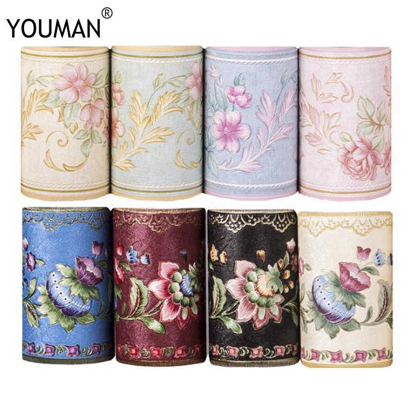 PVC Self-adhesive Wallpaper Borders Waistline 3D Flower/Geometric Pattern Baseboard Living Room Bathroom Kitchen Tiles Stickers
