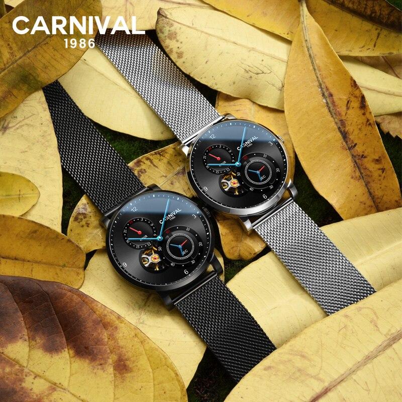 카니발 블랙 자동 시계 남자 방수 기계식 시계 톱 브랜드 럭셔리 남자 시계 남자 손목 시계 몬트 옴므 xfcs-에서기계식 시계부터 시계 의  그룹 1