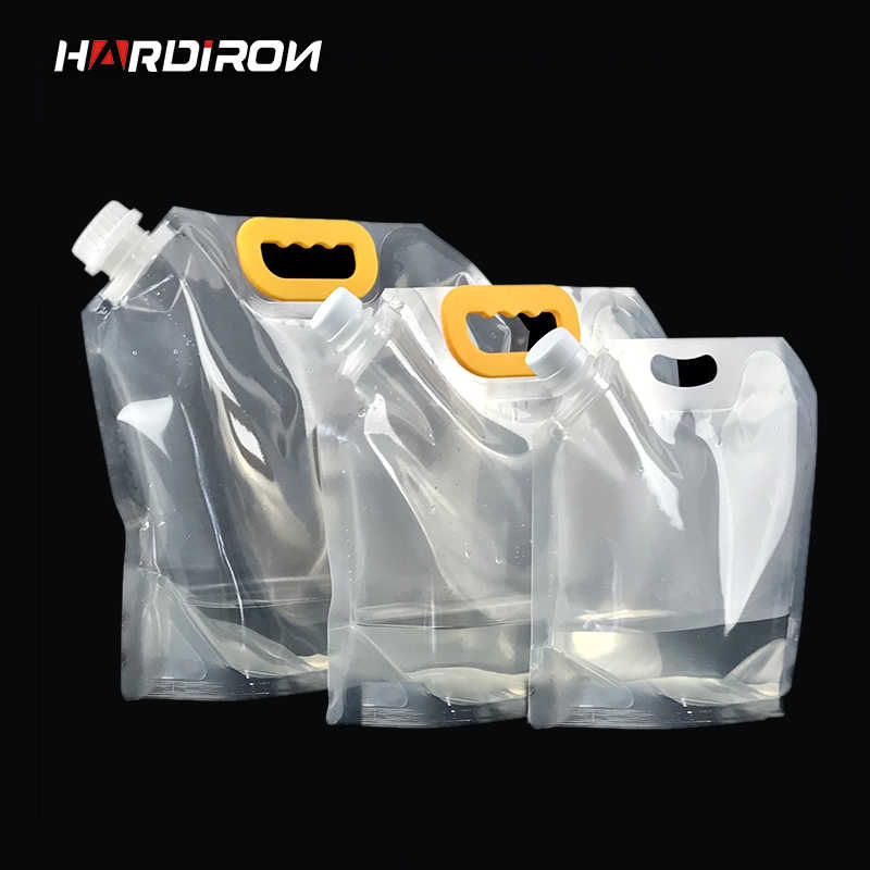 HARDIRON 10PCS Large Disposable Craft Beer Plastic Packaging Bag Juice Liquid Drink Yellow Handle Transparent Standing Bag