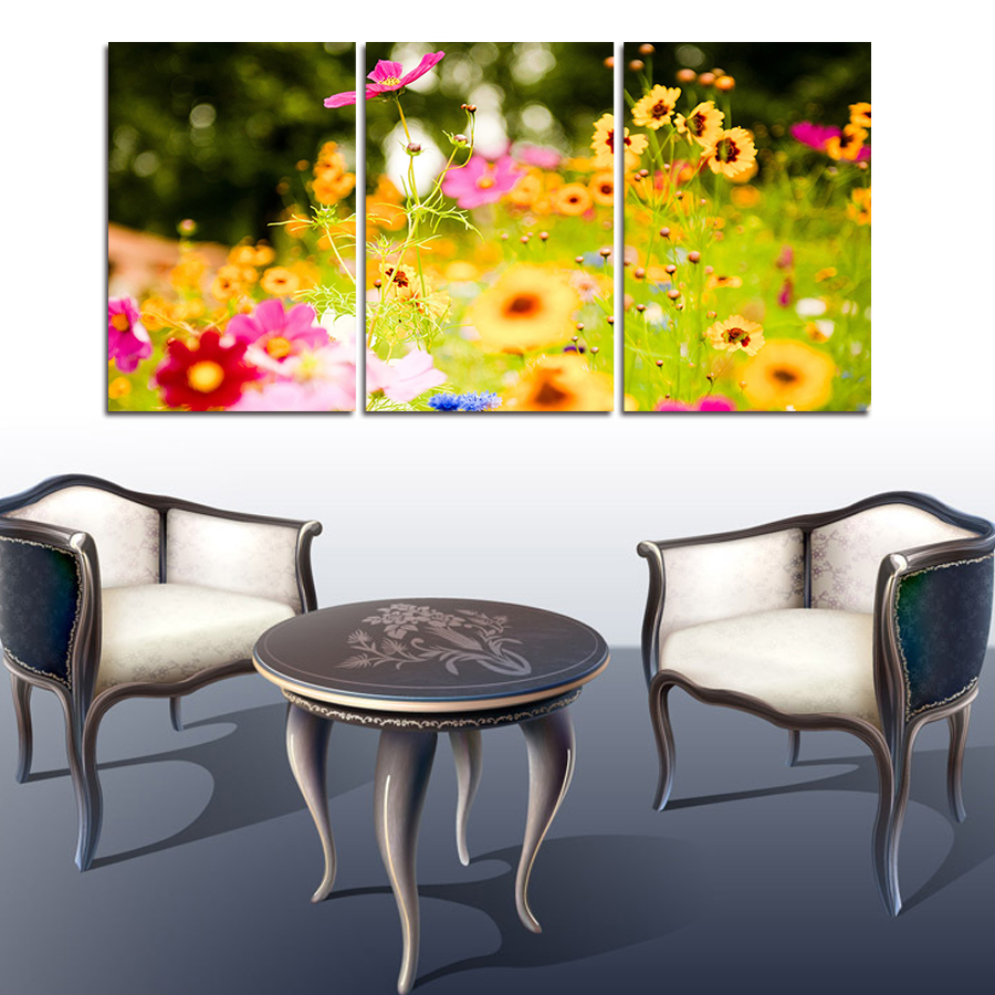 Cuadros Decoracion 3 Panels Flower New York City Picture Canvas ...