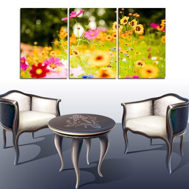 Cuadros Decoracion 3 Panels Flower New York City Picture Canvas ...