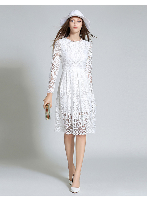 2017  New Cultivate One's Morality Bohemian Style Dress Hollow Out Long Sleeve Lace Dress Woman Beautiful Spring Dress
