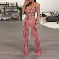 2017 Autumn tassel sequin jumpsuits Womens Rompers Sexy Elegant ladies wide leg pants Overalls Lace sequined kerst jurk outfits