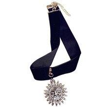 Gothic Punk Style Sun & Moon Velvet Ribbon Choker Pendant Necklace