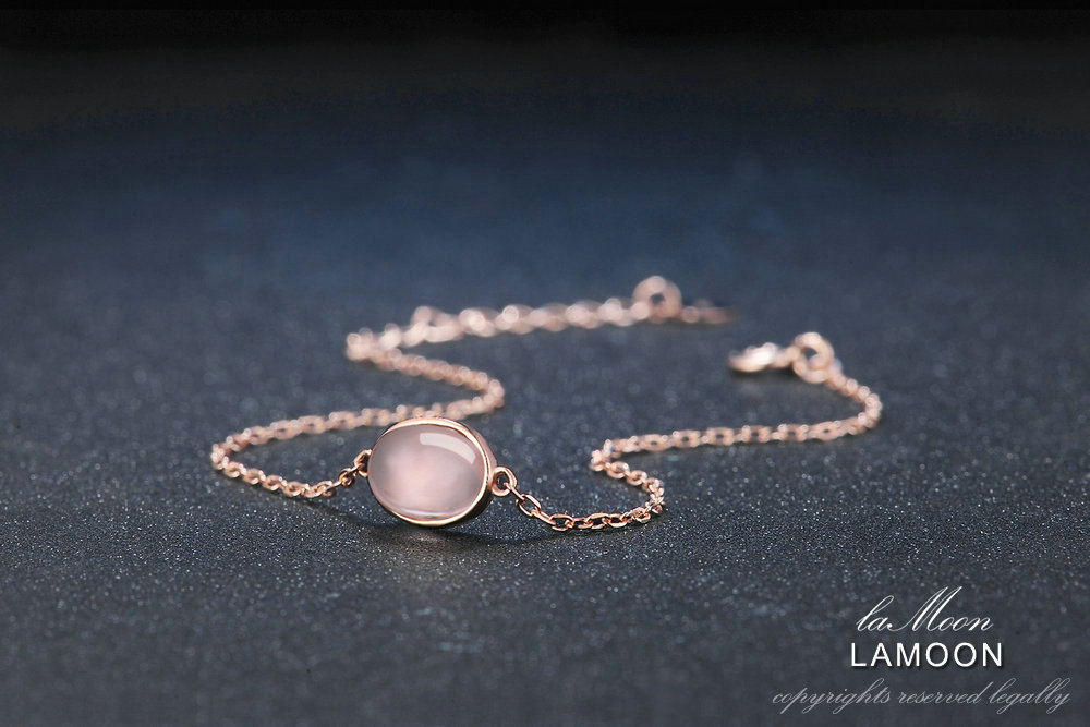 LAMOON Rose Quartz Bracelet For Women Gemstone 925 Silver Bracelet 18K Rose Gold Plated Fine Jewelry Simple Style LMHI023