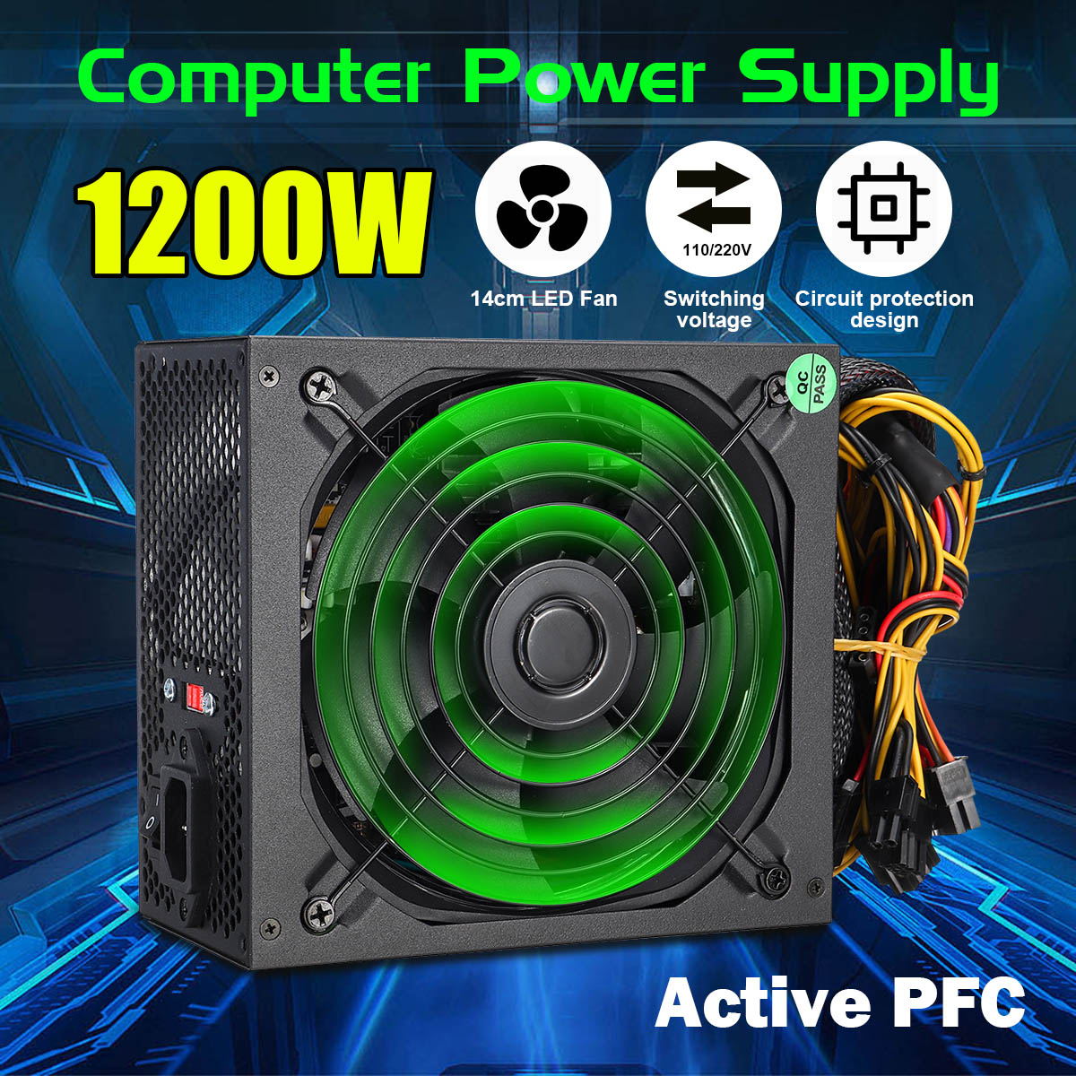 1200W PC Power Supply For Computer Module PC PSU PFC 24Pin SATA 6Pin 4Pin 14cm Quiet LED Fan 110~220V