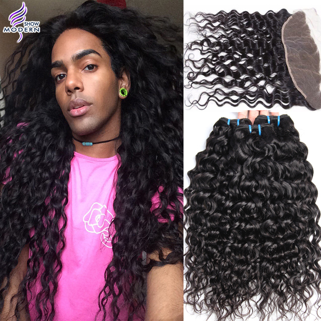Modern Show Mink Brazilian Water Wave Virgin Hair With Frontal Lace frontal Closure With 3 Bundles Wet And Wavy Human Hair Weave