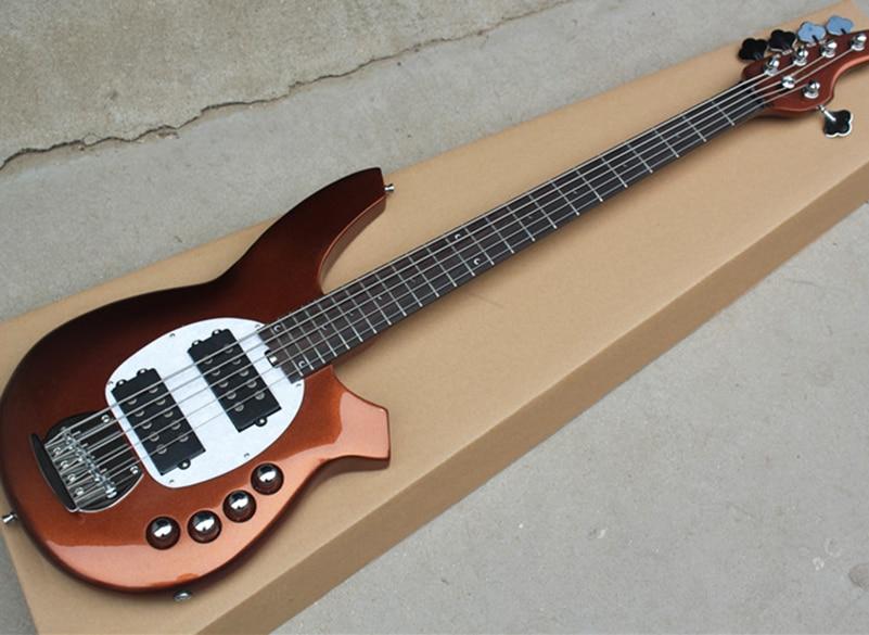 factory custom 5 strings metallic brown electric bass guitar with active circuit humbucker. Black Bedroom Furniture Sets. Home Design Ideas