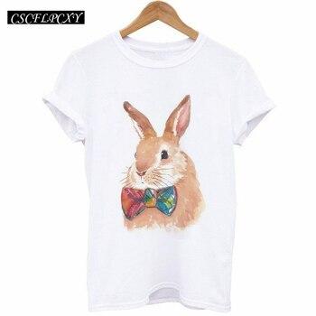 Camisetas Mujer 2017 été hauts T-Shirt femmes T-Shirt dessin animé lapin Animal imprimé T-Shirt Femme à manches courtes T-Shirt blanc