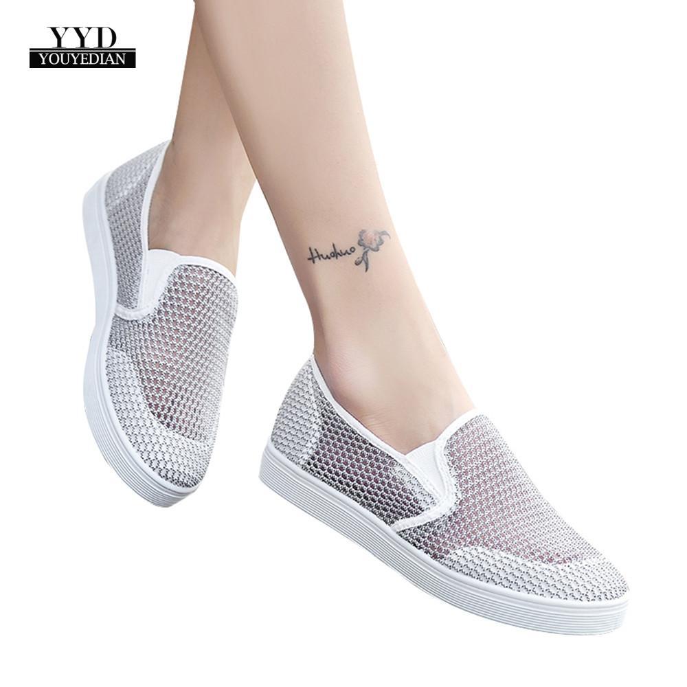 Qualifiziert Youyedian Frauen Turnschuhe Sommer Frauen Hohl Turnschuhe Weiche Schuhe Mesh Atmungsaktive Flache Schuhe Schuhe Zapatos De Mujer # W35 Vulkanisierte Damenschuhe