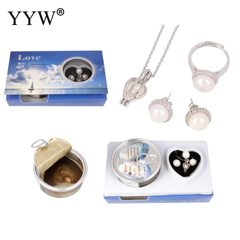 Pearl Oysters Canned-Pearl Mussel Necklace & Finger Ring & Earrings For Women Jewelry Set Wedding Party Mysterious Gift Surprise
